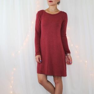 LOFT Outlet Lounge Heathered Maroon Dress